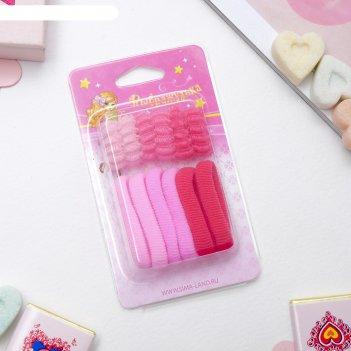Резинки для волос махрушка (набор 12 шт.), розовые