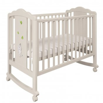 Детская кроватка polini kids 621 «зайки», цвет бежевый-зелёный