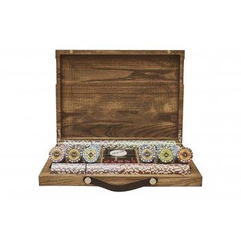 Набор для покера crown на 500 фишек в кейсе из ясеня