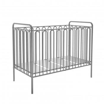 Детская кроватка polini kids vintage 150 металлическая, цвет серебро