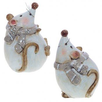 Фигурка декоративная мышка, 5,5х5,5х8 см, 2 в.