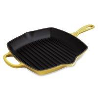 Сковорода - гриль, размер: 26 х 26 см, материал: чугун, цвет: желтый, le c