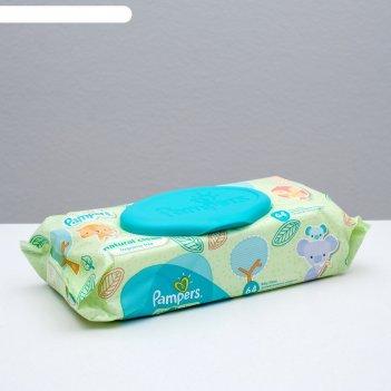 Влажные салфетки pampers natural clean, сменный блок, 64 шт