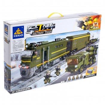 Конструктор железная дорога «военный поезд», работает от батареек, 1174 де