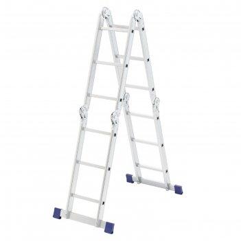 Лестница шарнирная сибртех 97881, алюминиевая, 4х3 ступени