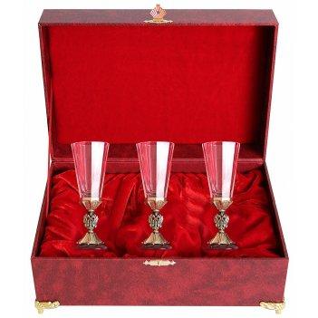 Набор лафитный 3 стопки герб(литье, латунь) шкатулка(бумвинил)