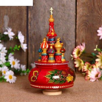 Сувенир-шкатулка музыкальная храм. жостово, 19х15,5 см, красная
