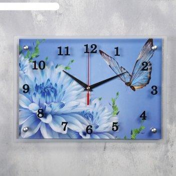 Часы настенные, серия: цветы, голубые цветы и бабочка, 25х35  см, микс