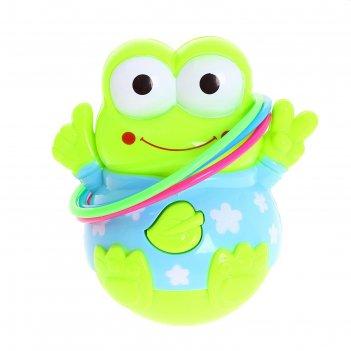 Неваляшка-кольцеброс музыкальная лягушка с кольцами, работает от батареек,