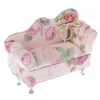 Шкатулка ткань для украшений диванчик с розами 12,8х17,5х7 см