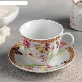 Набор чайный садовый дворик, 2 предмета: чашка 250 мл, блюдце