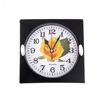 Часы настенные, серия: цветы, роза желтая 15х15 см