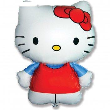 Шар фольгированный 26 фигура hello kitty. котенок с бантиком голубой, 1 шт