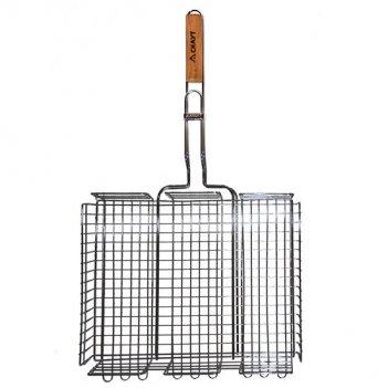 Решетка для гриля глубокая 40х30х7 см с деревянной ручкой скаут 0706