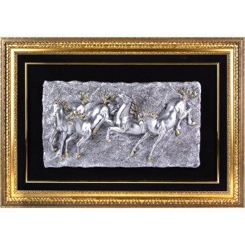 Панно лошади серебро, 85x120 см.
