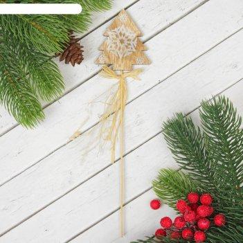 Декор на палочке ёлочка со снежинкой
