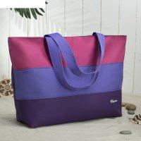 Сумка пляжная на молнии bagamas, 1 отдел, цвет баклажан/сиреневый/розовый