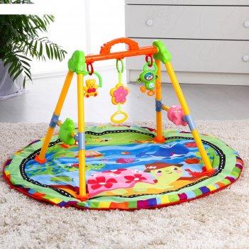 Развивающий коврик с игровой стойкой «черепашка», с музыкальной игрушкой