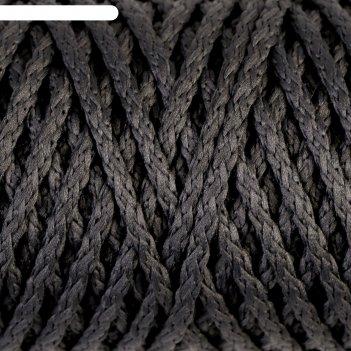 Шнур для вязания без сердечника 100% полиэфир ширина 4мм 100м (т.-серый)