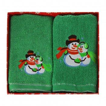 Набор полотенец с вышивкой collorista снеговики 30 х 70 см, 50 х 90 см хло