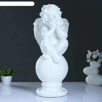 Статуэтка ангел на шаре большая белый