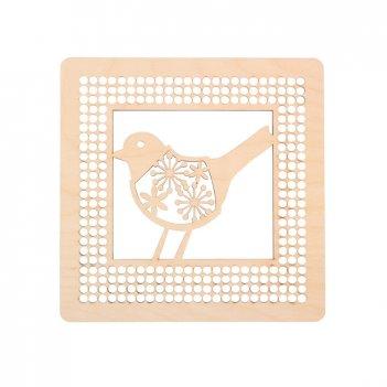 Панно с птичкой для декора нитками