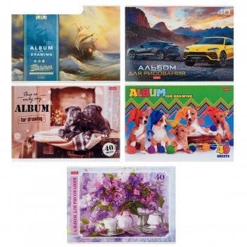 Альбом для рисования а4, 40 листов ассорти, мелованный картон, микс