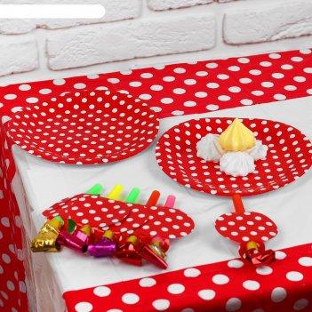 Набор для праздника горох, скатерть 180*108 см, 6 тарелок, 6 язычков, цвет