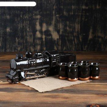 Штоф с рюмками паровоз набор 7 предметов 1 л