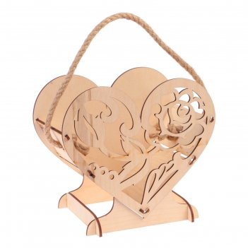 Кашпо флористическое сердце, ручка- шнур, натуральное, 17,7х15х10,5см