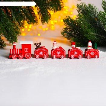 Новогодний декор сказочный поезд 23х5х2 см микс