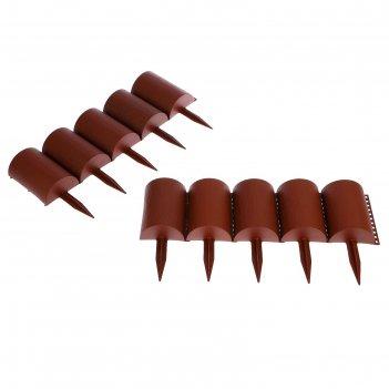 Ограждение декоративное, 24 x 100 см, 10 секций, пластик, коричневое, «брё