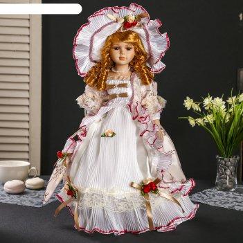 Кукла коллекционная барышня в золотисто-коричневом с зонтиком