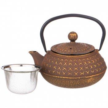Заварочный чайник чугунный латте с эмалированным покрытием внутри 680 мл