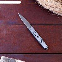 Нож перочинный лезвие drop-point хром 7,3см, рукоять туз пик, 17см