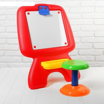 Доска для рисования со стульчиком, в комплекте, маркер, губка,  набор букв