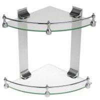Полка для ванной 2х-ярусная угловая с ограничителем, 24 см зеркальный блес