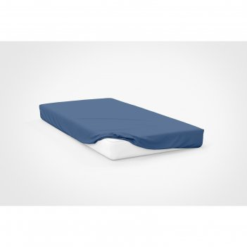 Простыня, размер 120x200x20 см, цвет синий