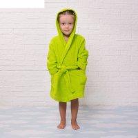 Халат махровый детский, размер 28, цвет салатовый, 340 г/м2 хл.100% с airo