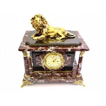 Часы-сейф из яшмы с львом