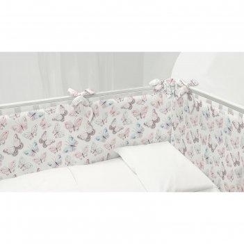 Комплект бортиков в кроватку непоседа бабочки 120х34-2шт;60х34-2шт поплин