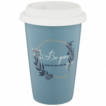 Кружка с силиконовой крышкой кофемания 370 мл, синяя (кор=36шт.)
