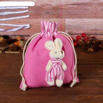 Подарочная сумочка зайка в розовом, виды микс
