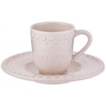 Кофейный набор на 1 персону 2 пр. фантазия белый 100 мл. без упаковки