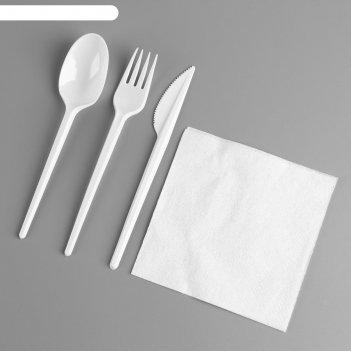Набор одноразовой посуды «вилка, ложка, нож, салфетка»
