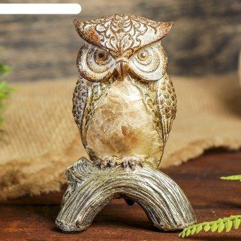 Сувенир полистоун сова жемчужно-золотая 11,5х8х6 см