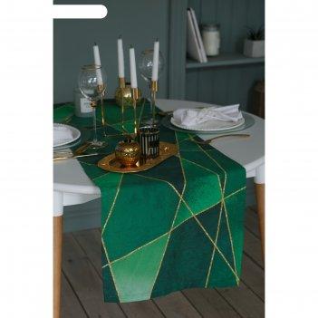 Дорожка на стол этель изумруд 40х146 см, 100% хл, саржа 190 гр/м2