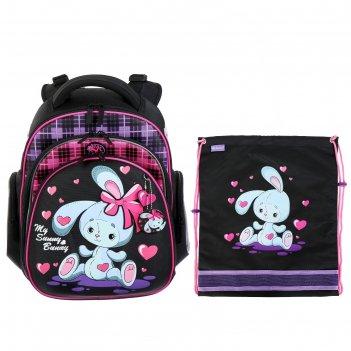 Рюкзак каркасный hummingbird tk 37*32*18 +мешок д/обуви дев bunny, чёрный/
