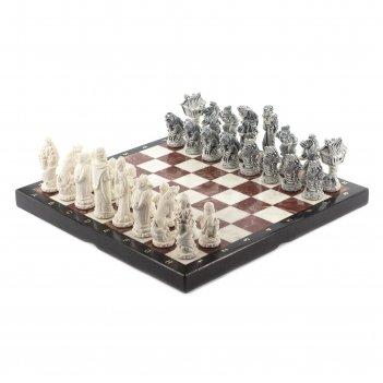 Шахматы русские сказки лемезит мрамор 415х415 мм