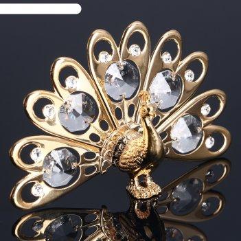 Сувенир павлин малый с 5 хрусталиками 6 см u-4011